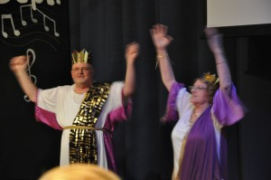 Herod and Herodias leading the audience
