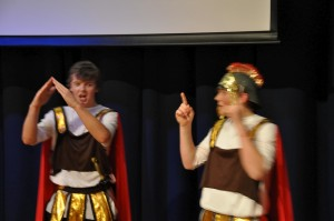 Maximus and Tichicus leading the audience